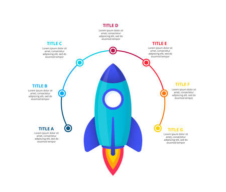 Flying rocket with flame. Vector startup infographic illustration. Abstract elements of graph, diagram with 7 steps, options, parts or processes Çizim