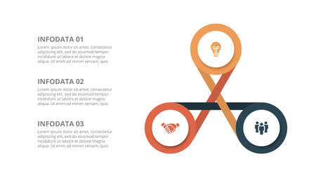 Flat circle element for infographic with 3 parts, options or steps. Template for cycle diagram, graph, presentation and chart Çizim