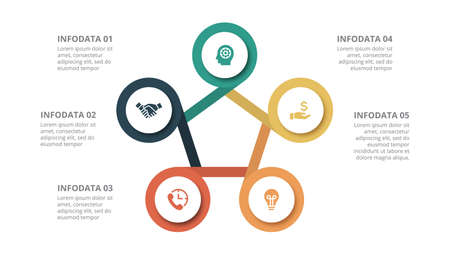 Flat circle element for infographic with 5 parts, options or steps. Template for cycle diagram, graph, presentation and chart