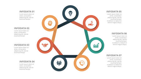Flat circle element for infographic with 7 parts, options or steps. Template for cycle diagram, graph, presentation and chart