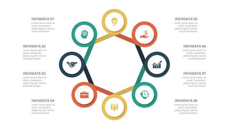 Flat circle element for infographic with 8 parts, options or steps. Template for cycle diagram, graph, presentation and chart