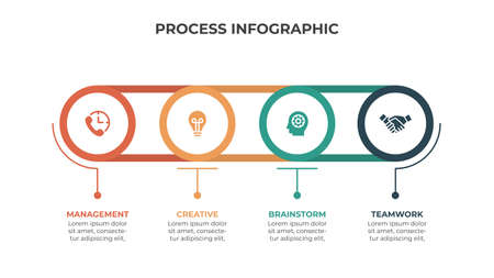 Abstract elements of graph, diagram with 4 steps, options, parts or processes. Vector business template for presentation. Creative concept for infographic