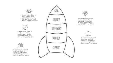 Doodle infographic rocket with 5 options. Hand drawn icons. Thin line startup illustration