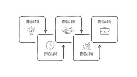 Doodle process infographic with 5 options. Hand drawn icons. Thin line illustration