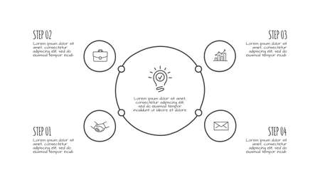 Doodle circle infographic with 4 options. Hand drawn icons. Thin line illustration