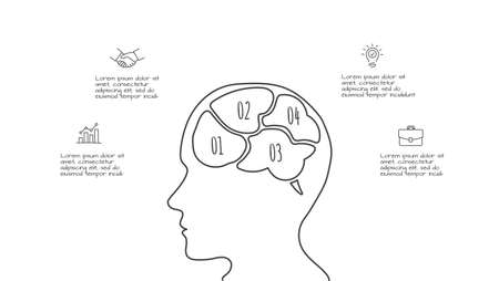 Doodle infographic brainstorm with 4 options. Hand drawn icons. Thin line creative illustration