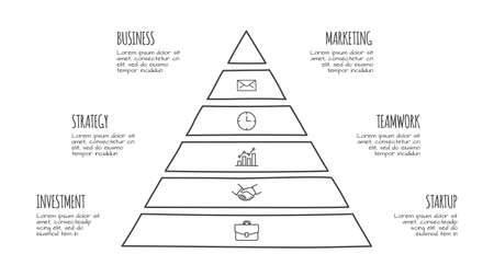 Doodle pyramid infographic with 6 options. Hand drawn icons. Thin line illustration Çizim