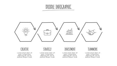 Doodle abstract infographic with 4 options. Hand drawn icons. Thin line illustration Çizim