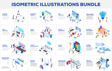Isometric 3d illustrations bundle. Cloud technology, sales funnel, investment, seo analytics and startup business with characters