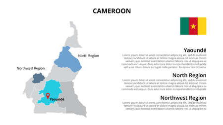Cameroon vector map infographic template divided by states, regions or provinces. Slide presentation