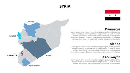 Syria vector map infographic template divided by states, regions or provinces. Slide presentation Vecteurs