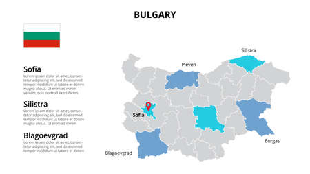Bulgary vector map infographic template divided by countries. Slide presentation. 向量圖像