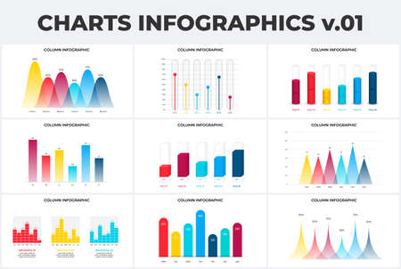 Set with column charts infographic design templates. Modern flat vector illustration for presentation. Annual report. 向量圖像