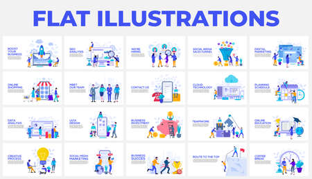 Set of flat illustrations with characters. Design, planning, shedule, investment, education, partnership and manu other themes.