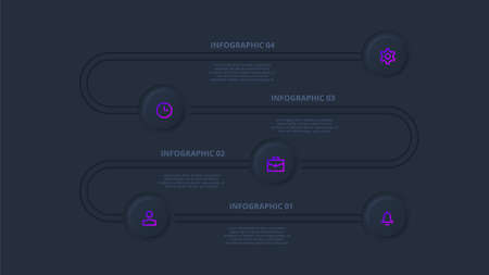 Dark neumorphic timeline infographic. Template for diagram, graph, presentation and chart. Skeuomorph concept with 5 options, parts, steps or processes.