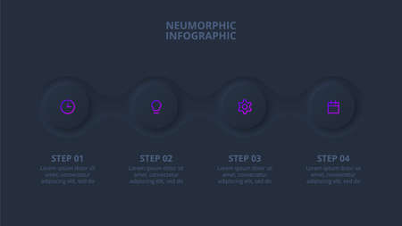 Dark neumorphic element for infographic. Template for diagram, graph, presentation and chart. Skeuomorph concept with 4 options, parts, steps or processes.