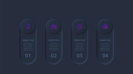Dark neumorphic element for infographic. Template for diagram, graph, presentation and chart. Skeuomorph concept with 4 options, parts, steps or processes