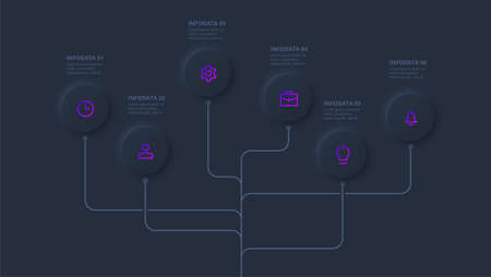 Dark neumorphic element for infographic. Template for diagram, graph, presentation and chart. Skeuomorph concept with 6 options, parts, steps or processes.