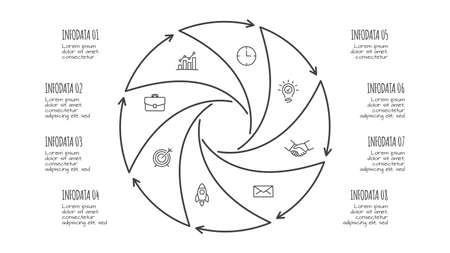 Doodle infographic elements with 8 options. Hand drawn icons. Thin line illustration.