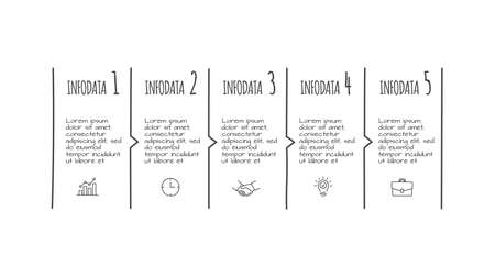 Doodle infographic elements with 5 options. Hand drawn icons. Thin line illustration.