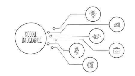 Doodle infographic elements with 7 options. Hand drawn icons. Thin line illustration.