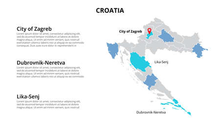 Croatia vector map infographic template divided by countries. Slide presentation.