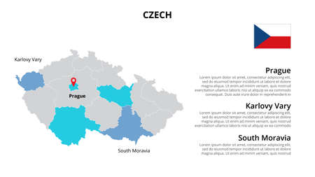 Czech vector map infographic template divided by countries. Slide presentation.