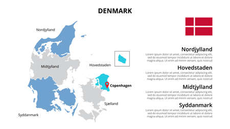 Denmark vector map infographic template divided by countries. Slide presentation. 向量圖像