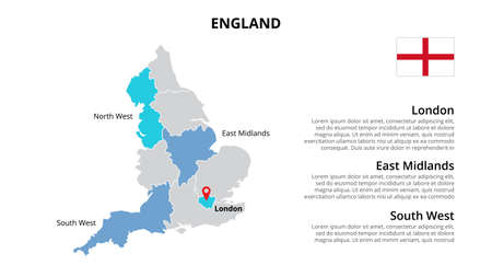 England vector map infographic template divided by countries. Slide presentation.