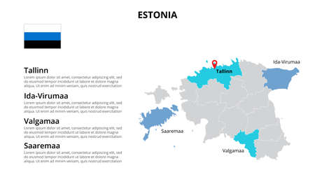 Estonia vector map infographic template divided by countries. Slide presentation. 向量圖像