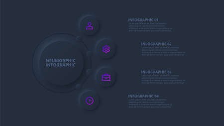Dark neumorphic flow chart infographic. Template for diagram, graph, presentation and chart. Skeuomorph concept with 4 options, parts, steps or processes 向量圖像