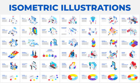 Isometric 3d illustrations set. Startup, business, seo, analysis data, recruiting and social media with characters 版權商用圖片