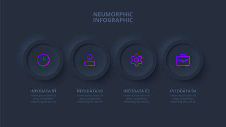Dark neumorphic rings infographic. Template for diagram, graph, presentation and chart. Skeuomorph concept with 4 options, parts, steps or processes