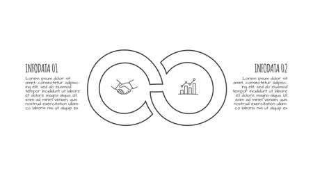 Doodle infographic elements with 2 options. Hand drawn icons. Thin line illustration