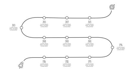 Doodle infographic timeline. Hand drawn icons. Thin line illustration