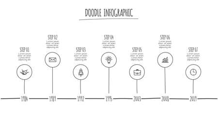 Doodle infographic elements with 7 options. Hand drawn icons. Thin line illustration