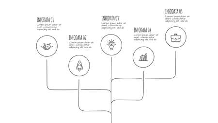 Doodle infographic elements with 5 options. Hand drawn icons. Thin line illustration