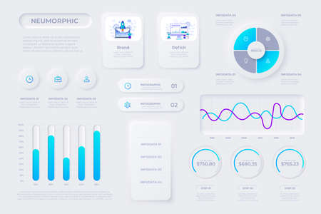 Financial analytics, time management and planning gui templates. User interface elements. Unique neumorphic design set. Manage, navigation, search form and components