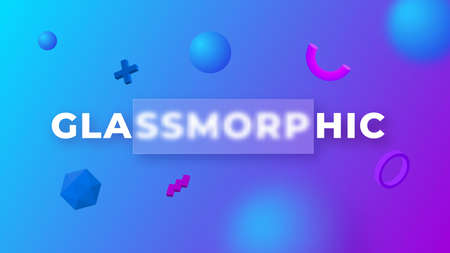 Glassmorphism concept with 3d geometric shapes. Frosted glass effect. Illustration on blurred gradient vector background 向量圖像