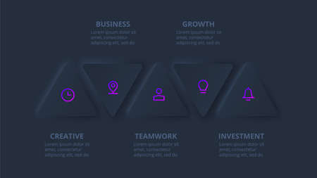 Dark neumorphic triangles for infographic. Template for diagram, graph, presentation and chart. Skeuomorph concept with 5 options, parts, steps or processes.