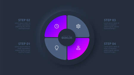 Dark neumorphic circle for infographic. Template for diagram, graph, presentation and chart. Skeuomorph concept with 4 options, parts, steps or processes.