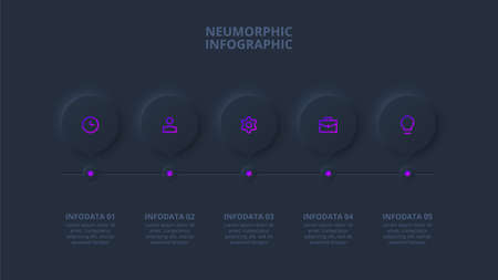 Dark neumorphic element for infographic. Template for diagram, graph, presentation and chart. Skeuomorph timeline with 5 options, parts, steps or processes.