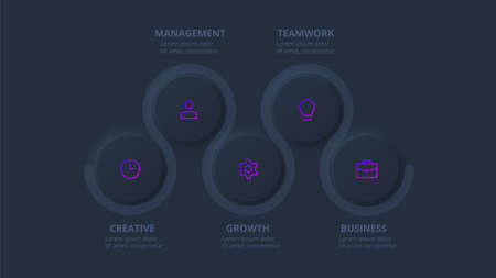 Dark neumorphic element for infographic. Template for diagram, graph, presentation and chart. Skeuomorph concept with 5 options, parts, steps or processes.