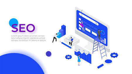 Isometric SEO analyses and optimization design concept with characters. Vector illustration. Landing page template for web.