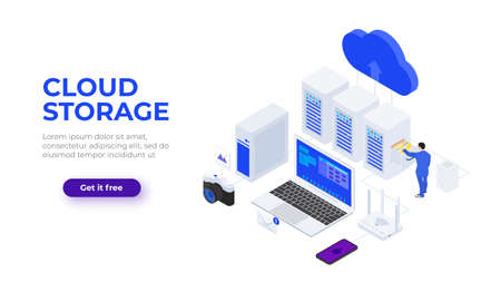 Isometric cloud technologies design concept with character. Vector illustration. Landing page template for web. 向量圖像