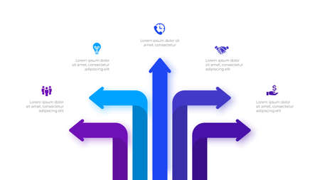 Infographic arrows design template. Modern vector illustration. Concept of 5 steps or options of business process.