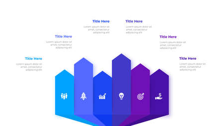 Infographic arrows design template. Modern vector illustration. Concept of 6 steps or options of business process.