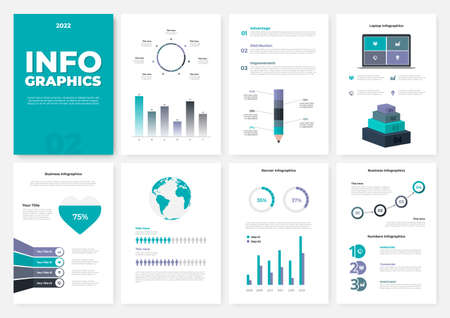 Infographic brochure template. A4 pages with charts, diagrams and workflow elements. Business data visualization concept. Vector illustration for presentation, statistical report, website Ilustração Vetorial
