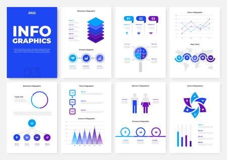 Infographic brochure template. A4 pages with charts, diagrams and workflow elements. Business data visualization concept. Vector illustration for presentation, statistical report, website