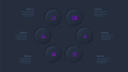 Dark neumorphic element for infographic. Template for diagram, graph, presentation and chart. Skeuomorph concept with 6 options, parts, steps or processes 向量圖像
